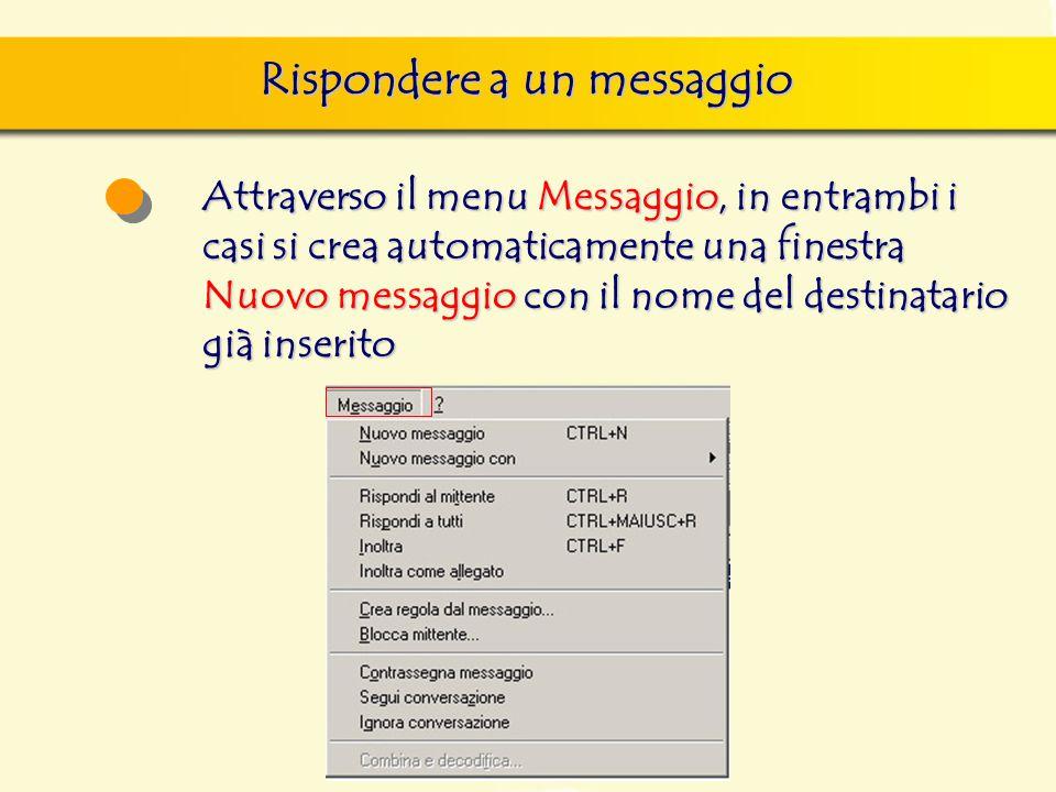 Rispondere a un messaggio Attraverso il menu Messaggio, in entrambi i casi si crea automaticamente una finestra Nuovo messaggio con il nome del destin