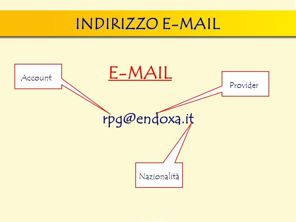 INDIRIZZO E-MAIL E-MAIL rpg@endoxa.it Account Nazionalità Provider
