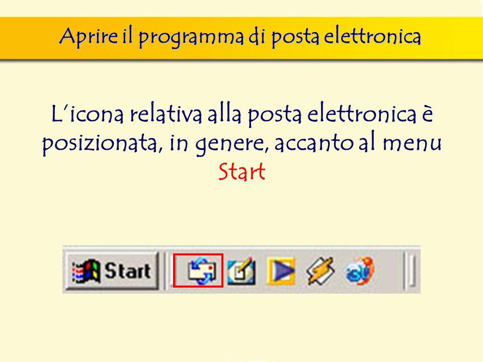 Aprire il programma di posta elettronica L'icona relativa alla posta elettronica è posizionata, in genere, accanto al menu Start