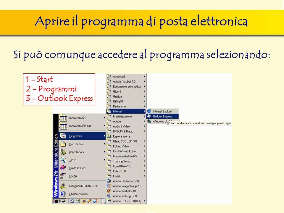 Aprire il programma di posta elettronica Si può comunque accedere al programma selezionando: 1 - Start 2 - Programmi 3 - Outlook Express