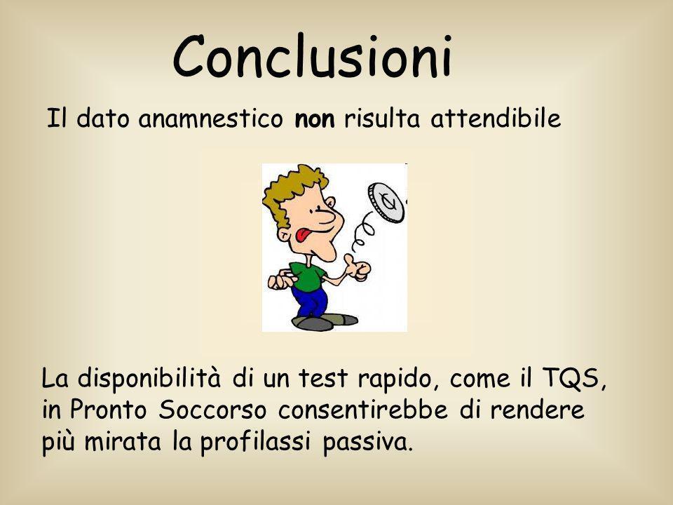 Il dato anamnestico non risulta attendibile La disponibilità di un test rapido, come il TQS, in Pronto Soccorso consentirebbe di rendere più mirata la