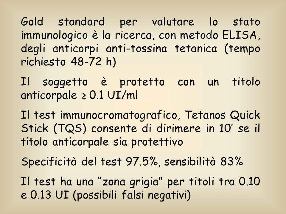 Gold standard per valutare lo stato immunologico è la ricerca, con metodo ELISA, degli anticorpi anti-tossina tetanica (tempo richiesto 48-72 h) Il so
