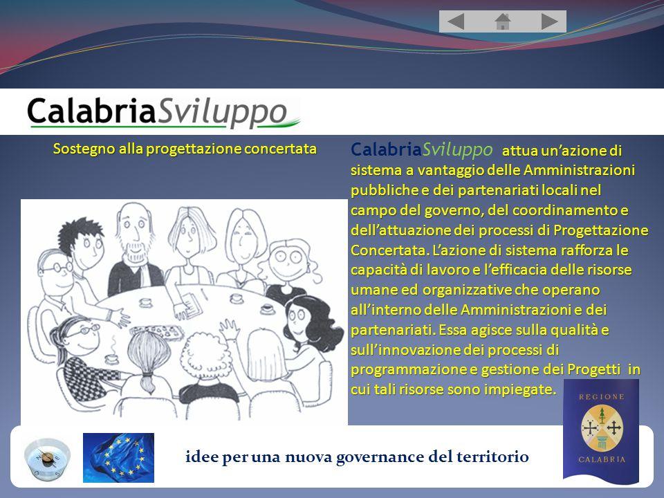 idee per una nuova governance del territorio Sostegno alla progettazione concertata attua un'azione di sistema a vantaggio delle Amministrazioni pubbliche e dei partenariati locali nel campo del governo, del coordinamento e dell'attuazione dei processi di Progettazione Concertata.