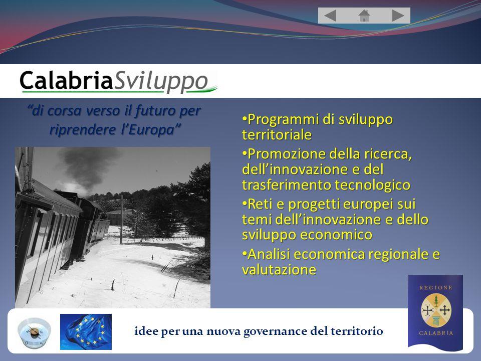 idee per una nuova governance del territorio Laboratorio-Contenitore CalabriaSviluppo, non è altro che un laboratorio-contenitore, diventato Ente accreditato, nato dalla messa in rete di diverse professionalità ed esperienze.