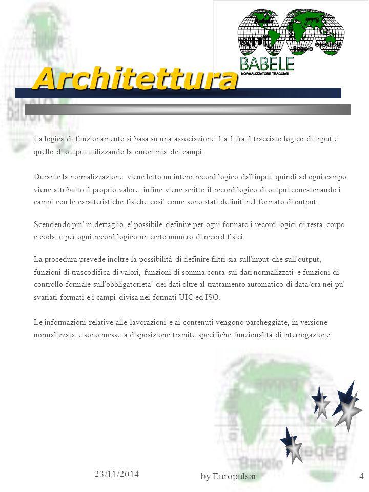 23/11/2014 by Europulsar4 Architettura La logica di funzionamento si basa su una associazione 1 a 1 fra il tracciato logico di input e quello di output utilizzando la omonimia dei campi.