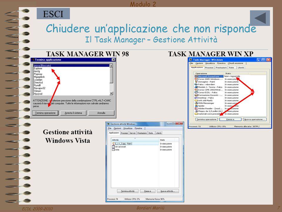 Modulo 2 ESCI ECDL 2009-2010 Bordieri Marilù38 Riconoscere le varie parti della finestra di una applicazione Barra del titolo Barra dei menu Barre degli strumenti Barra di stato Barre di scorrimento