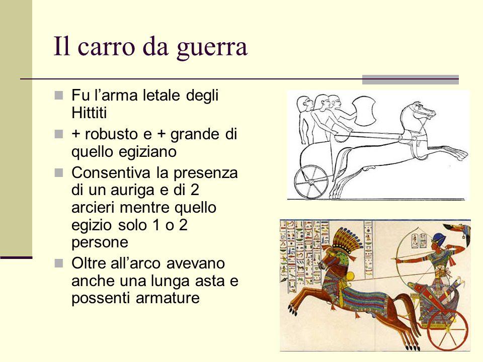 Il carro da guerra Fu l'arma letale degli Hittiti + robusto e + grande di quello egiziano Consentiva la presenza di un auriga e di 2 arcieri mentre qu