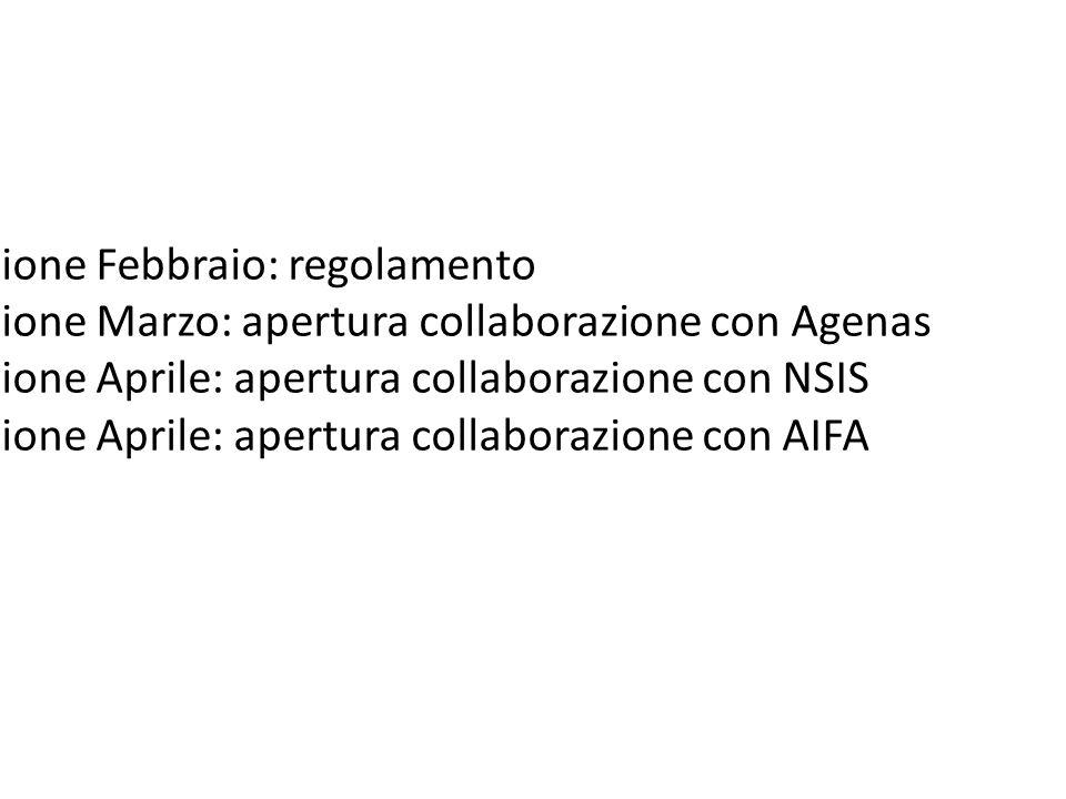 1 riunione Febbraio: regolamento 2 riunione Marzo: apertura collaborazione con Agenas 3 riunione Aprile: apertura collaborazione con NSIS 4 riunione A
