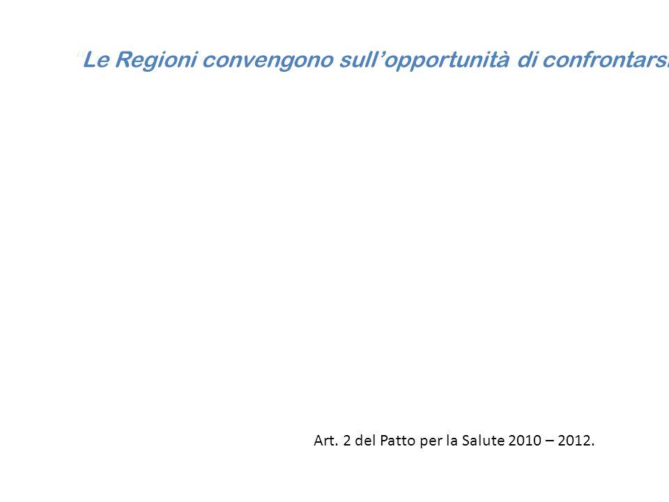 """""""Le Regioni convengono sull'opportunità di confrontarsi, ai fini di un'autovalutazione regionale e dell'avvio di un sistema di monitoraggio dello stat"""