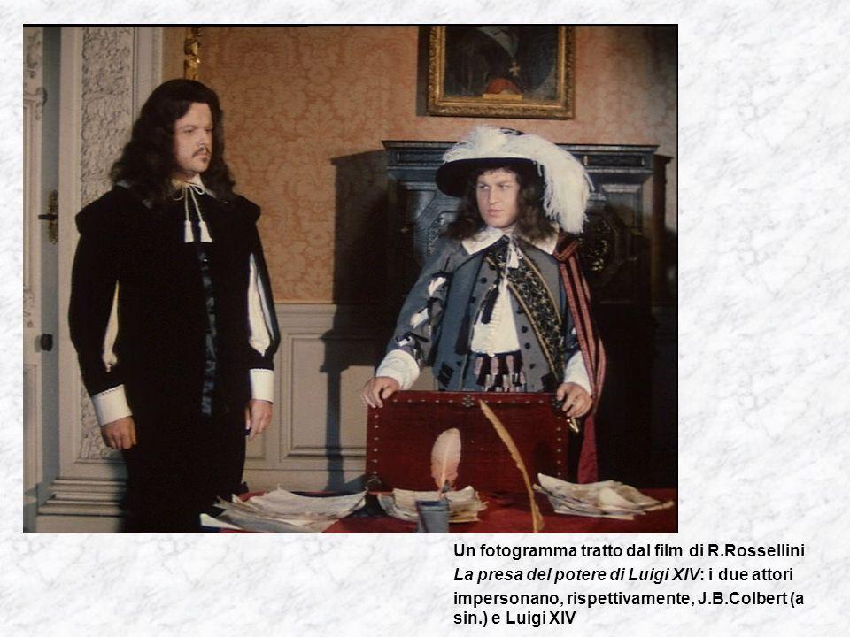Un fotogramma tratto dal film di R.Rossellini La presa del potere di Luigi XIV: i due attori impersonano, rispettivamente, J.B.Colbert (a sin.) e Luigi XIV