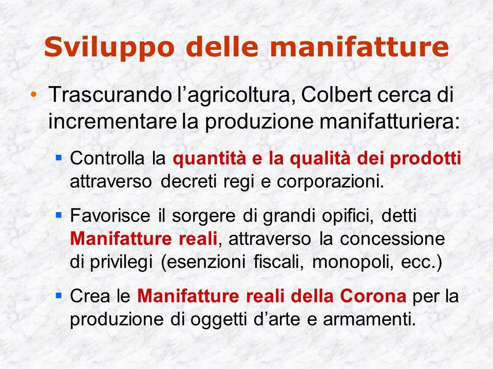 Sviluppo delle manifatture Trascurando l'agricoltura, Colbert cerca di incrementare la produzione manifatturiera:  Controlla la quantità e la qualità dei prodotti attraverso decreti regi e corporazioni.