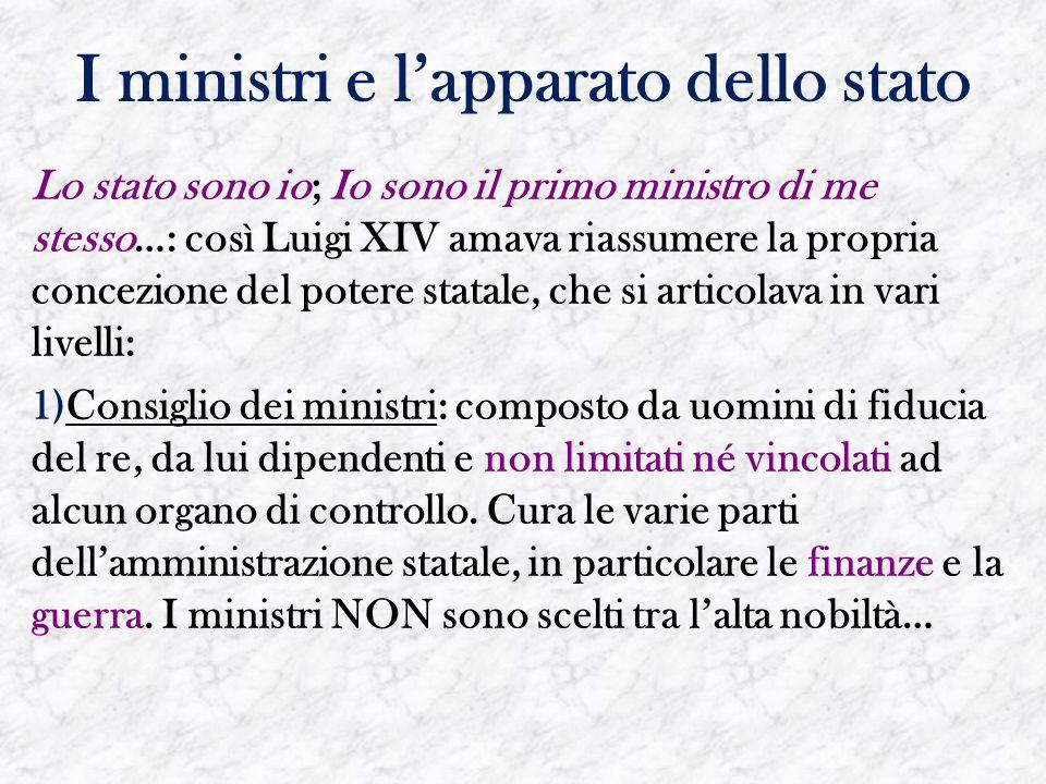 I ministri e l'apparato dello stato Lo stato sono io; Io sono il primo ministro di me stesso…: così Luigi XIV amava riassumere la propria concezione d