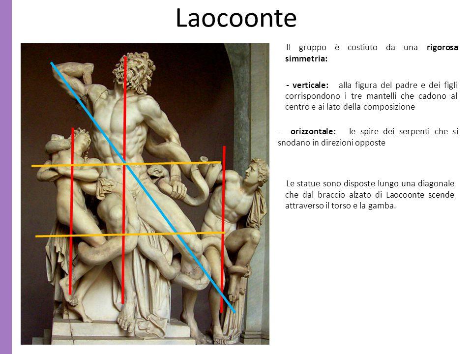 Laocoonte Il gruppo è costiuto da una rigorosa simmetria: - verticale: alla figura del padre e dei figli corrispondono i tre mantelli che cadono al ce