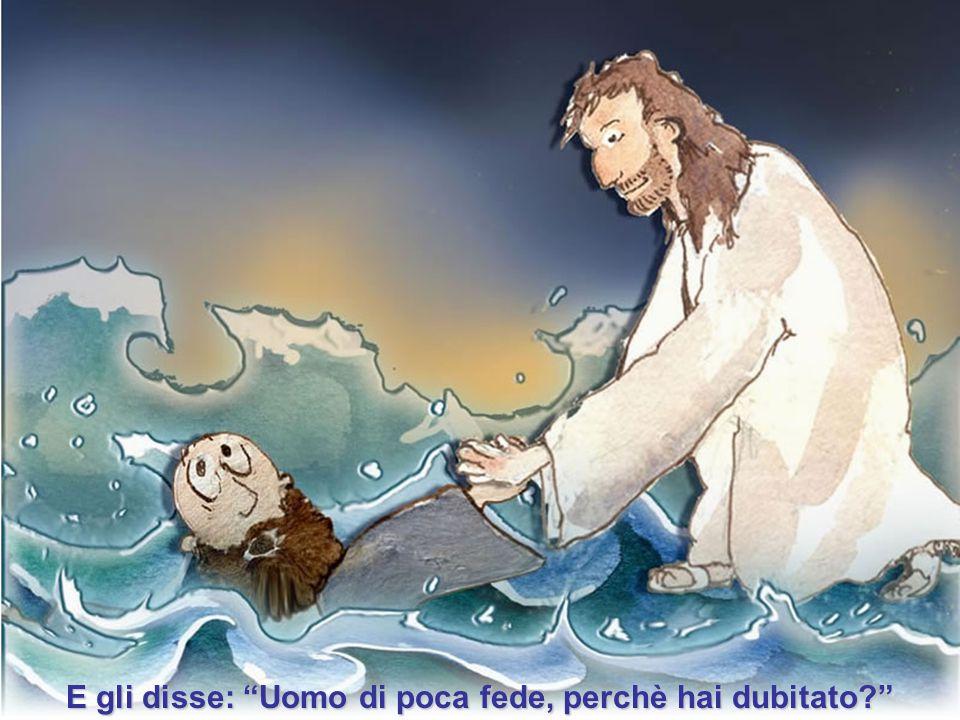 Subito Gesù, stesa la mano, lo prese.