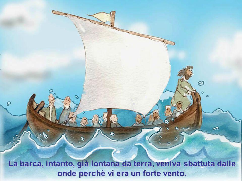 Gesù, obbligò i suoi discepoli a salire in barca e a precederlo sull'altra riva del lago di Galilea.