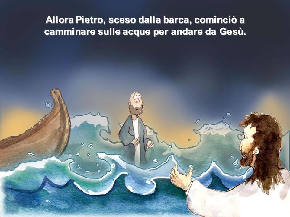 Allora Pietro gli disse: Signore, se sei tu, comanda che io venga a te sull'acqua E Gesù rispose: Vieni
