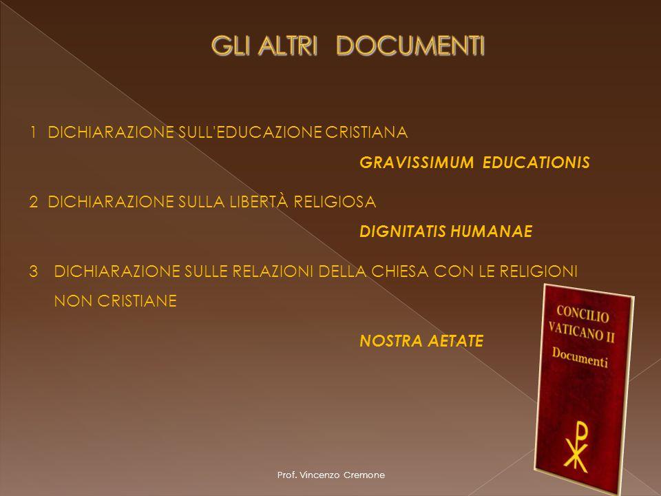Prof. Vincenzo Cremone 1 DICHIARAZIONE SULL'EDUCAZIONE CRISTIANA GRAVISSIMUM EDUCATIONIS 2 DICHIARAZIONE SULLA LIBERTÀ RELIGIOSA DIGNITATIS HUMANAE 3D
