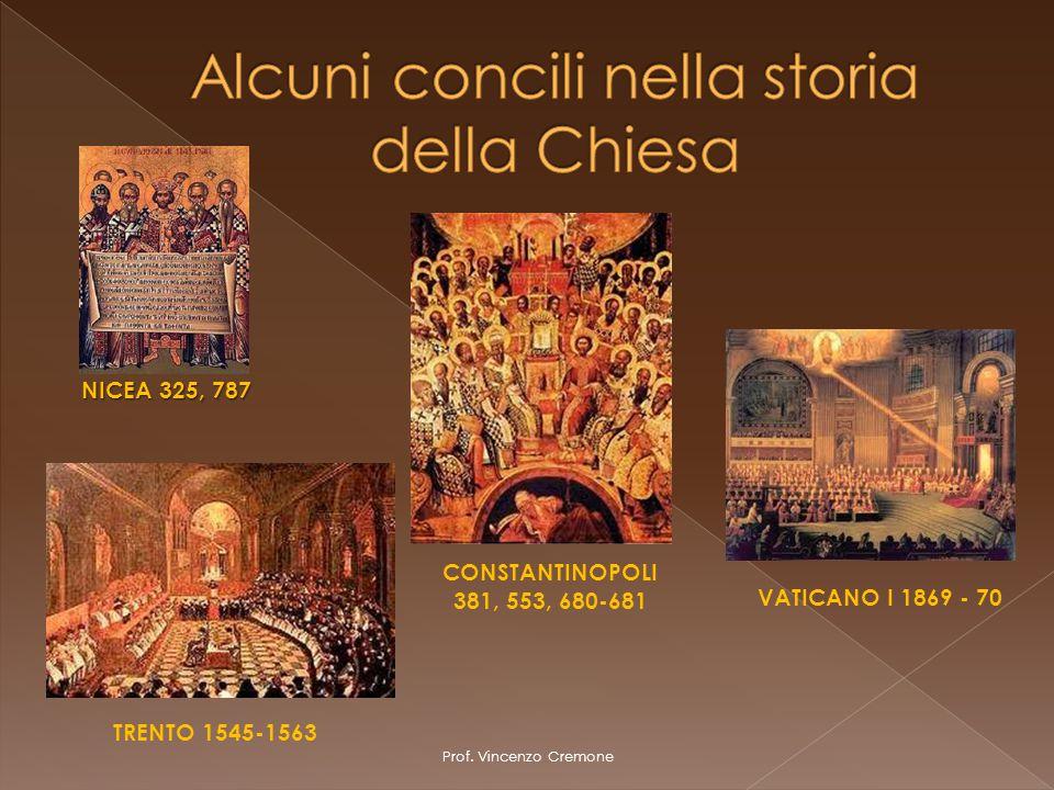 Prof. Vincenzo Cremone TRENTO 1545-1563 CONSTANTINOPOLI 381, 553, 680-681 NICEA 325, 787 VATICANO I 1869 - 70