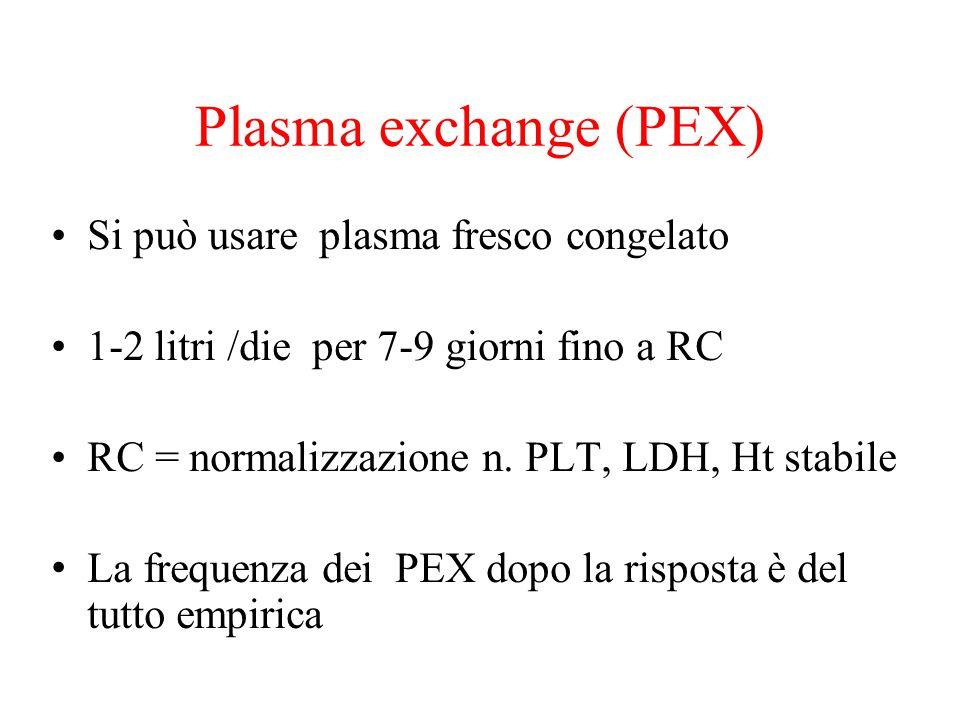 Plasma exchange (PEX) Si può usare plasma fresco congelato 1-2 litri /die per 7-9 giorni fino a RC RC = normalizzazione n. PLT, LDH, Ht stabile La fre
