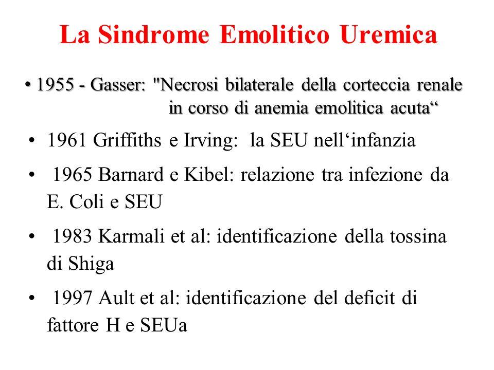 La Sindrome Emolitico Uremica 1961 Griffiths e Irving: la SEU nell'infanzia 1965 Barnard e Kibel: relazione tra infezione da E. Coli e SEU 1983 Karmal