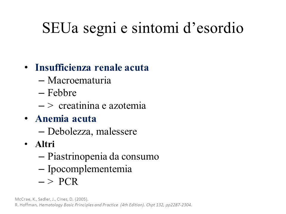 SEUa segni e sintomi d'esordio Insufficienza renale acuta – Macroematuria – Febbre – > creatinina e azotemia Anemia acuta – Debolezza, malessere Altri