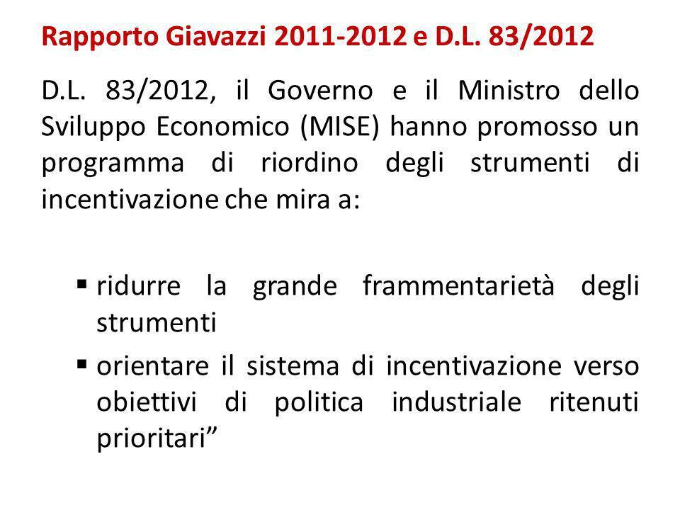 Rapporto Giavazzi 2011-2012 e D.L. 83/2012 D.L. 83/2012, il Governo e il Ministro dello Sviluppo Economico (MISE) hanno promosso un programma di riord