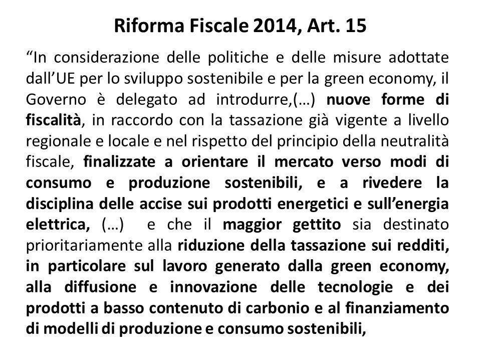 """Riforma Fiscale 2014, Art. 15 """"In considerazione delle politiche e delle misure adottate dall'UE per lo sviluppo sostenibile e per la green economy, i"""