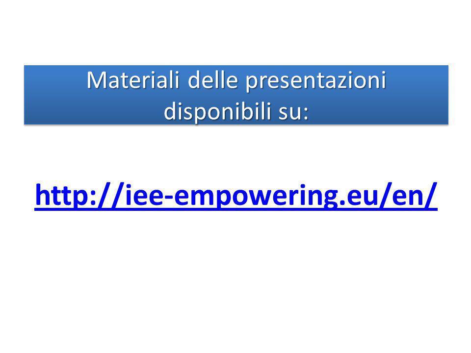 Materiali delle presentazioni disponibili su: http://iee-empowering.eu/en/