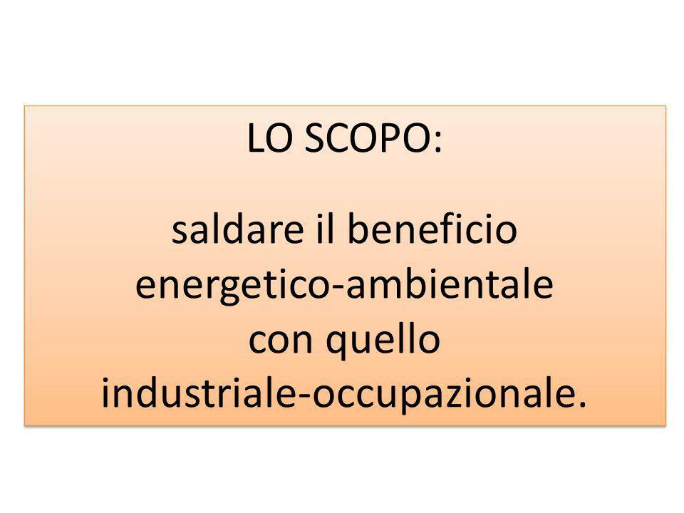 LO SCOPO: saldare il beneficio energetico-ambientale con quello industriale-occupazionale. LO SCOPO: saldare il beneficio energetico-ambientale con qu