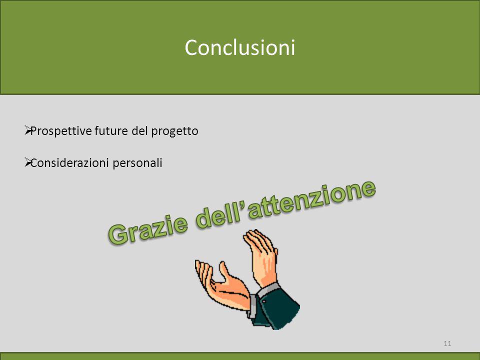 11 Conclusioni  Prospettive future del progetto  Considerazioni personali