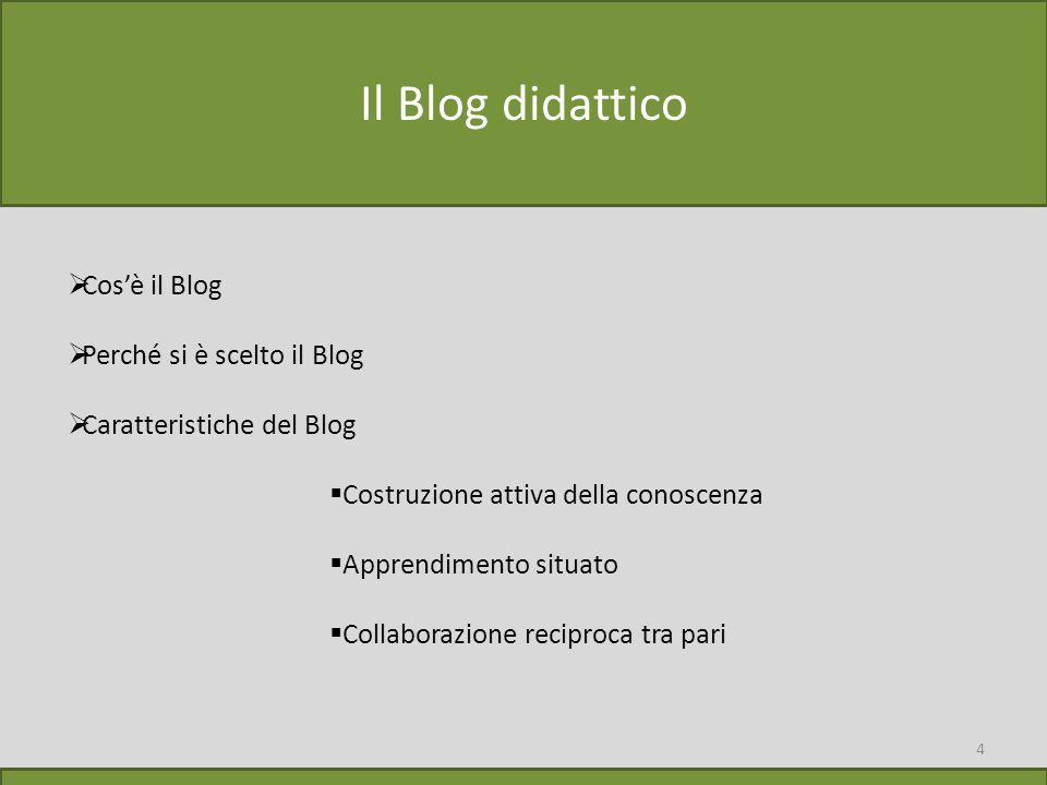 4 Il Blog didattico  Cos'è il Blog  Perché si è scelto il Blog  Caratteristiche del Blog  Costruzione attiva della conoscenza  Apprendimento situato  Collaborazione reciproca tra pari