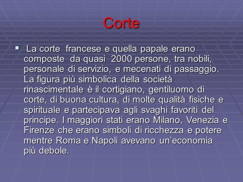 Corte  La corte francese e quella papale erano composte da quasi 2000 persone, tra nobili, personale di servizio, e mecenati di passaggio. La figura