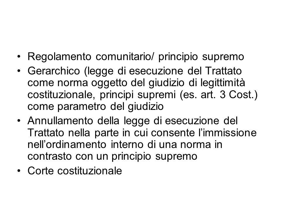 Regolamento comunitario/ principio supremo Gerarchico (legge di esecuzione del Trattato come norma oggetto del giudizio di legittimità costituzionale,