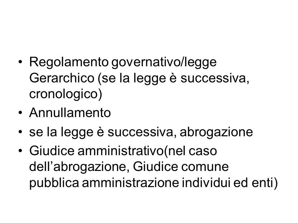 Regolamento governativo/legge Gerarchico (se la legge è successiva, cronologico) Annullamento se la legge è successiva, abrogazione Giudice amministra