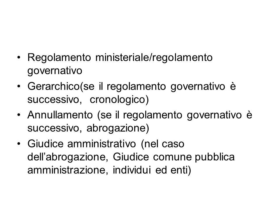 Regolamento ministeriale/regolamento governativo Gerarchico(se il regolamento governativo è successivo, cronologico) Annullamento (se il regolamento g