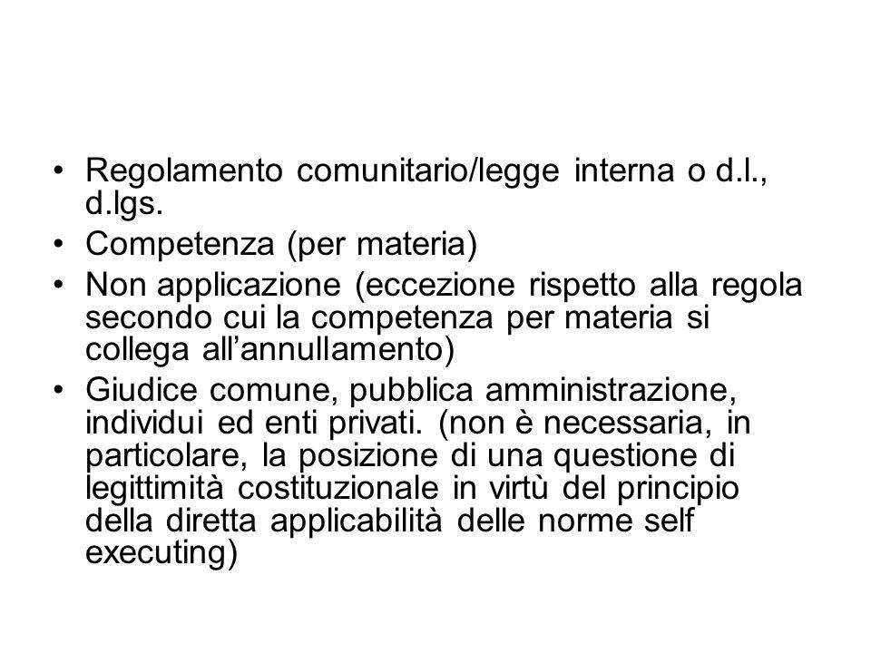 Regolamento comunitario/legge interna o d.l., d.lgs. Competenza (per materia) Non applicazione (eccezione rispetto alla regola secondo cui la competen