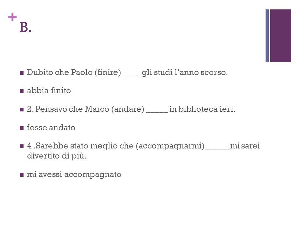 + B. Dubito che Paolo (finire) ____ gli studi l'anno scorso.