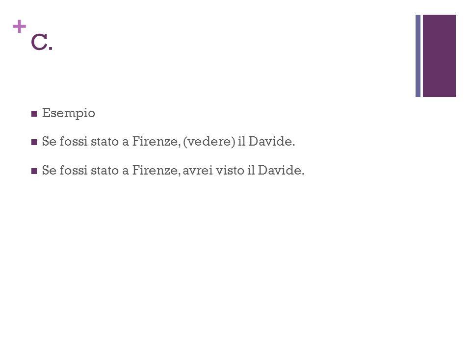 + C. Esempio Se fossi stato a Firenze, (vedere) il Davide.