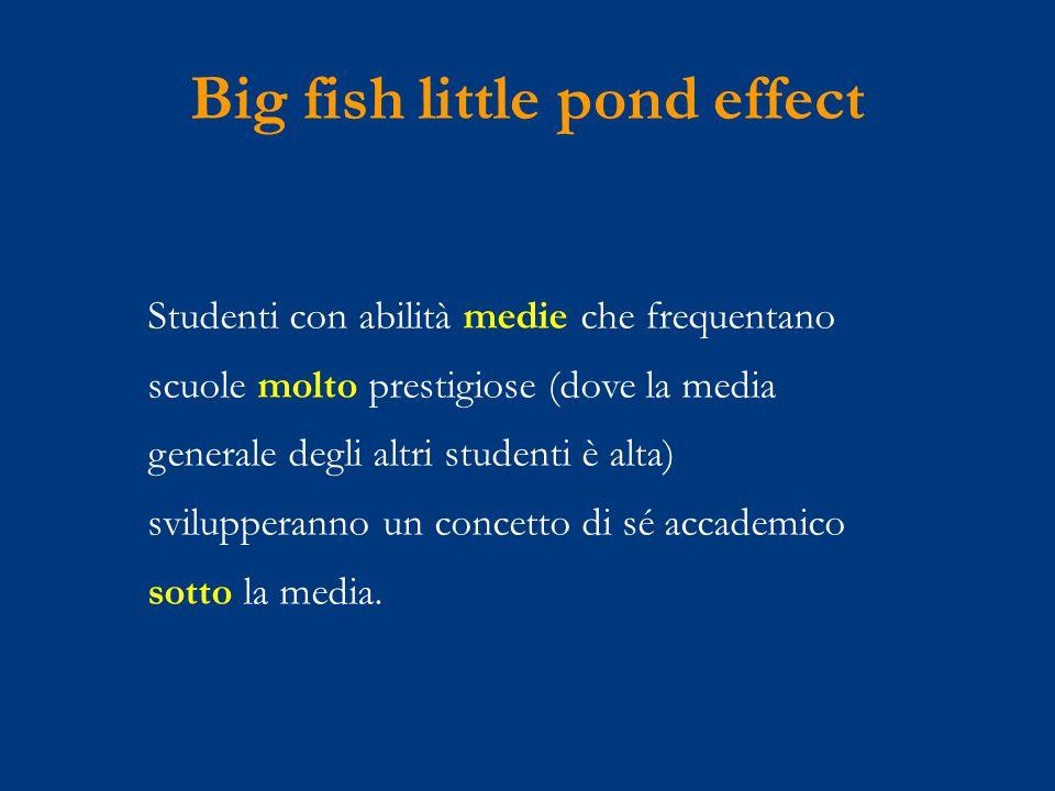 Big fish little pond effect Studenti con abilità medie che frequentano scuole molto prestigiose (dove la media generale degli altri studenti è alta) svilupperanno un concetto di sé accademico sotto la media.