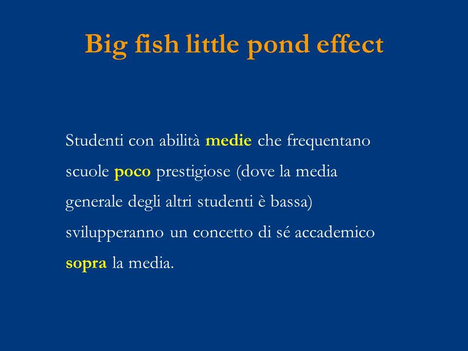 Big fish little pond effect Studenti con abilità medie che frequentano scuole poco prestigiose (dove la media generale degli altri studenti è bassa) svilupperanno un concetto di sé accademico sopra la media.