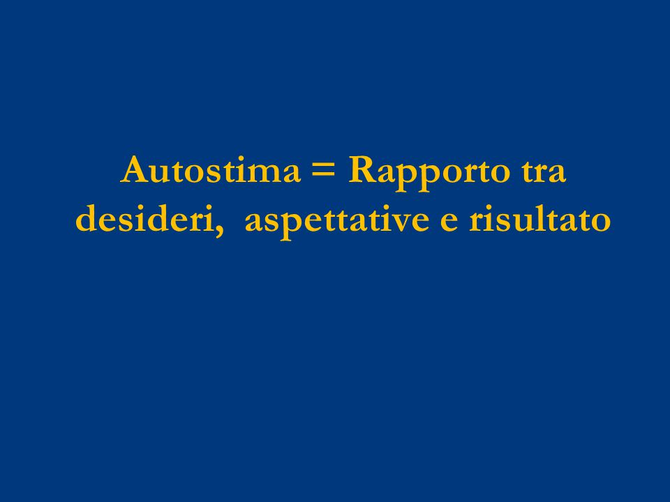 Autostima = Rapporto tra desideri, aspettative e risultato