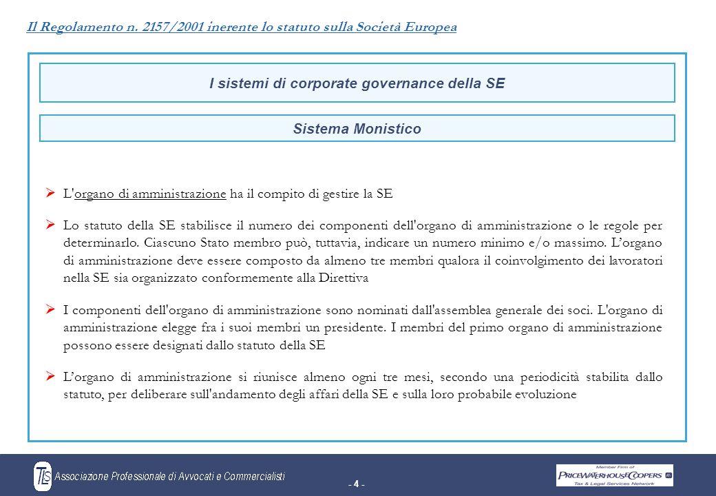- 4 - I sistemi di corporate governance della SE  L organo di amministrazione ha il compito di gestire la SE  Lo statuto della SE stabilisce il numero dei componenti dell organo di amministrazione o le regole per determinarlo.