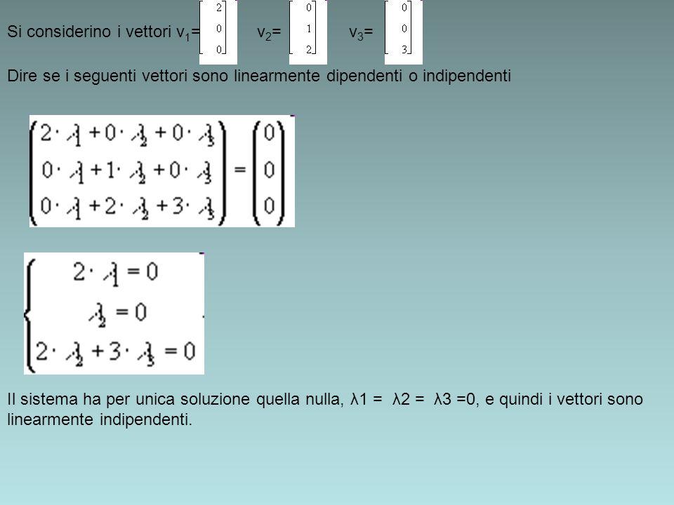Dire se i seguenti vettori sono linearmente dipendenti o indipendenti Si considerino i vettori v 1 = v 2 = v 3 = Il sistema ha per unica soluzione que