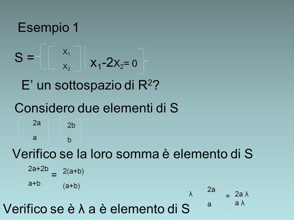 Esempio 1 S = X1X2X1X2 x 1 -2 X 2 = 0 E' un sottospazio di R 2 ? Considero due elementi di S 2a a 2b b Verifico se la loro somma è elemento di S 2a+2b