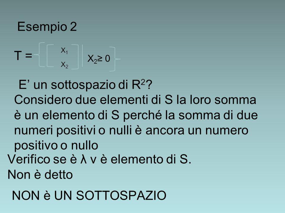 Esempio 2 T = X1X2X1X2 X 2 ≥ 0 E' un sottospazio di R 2 ? Considero due elementi di S la loro somma è un elemento di S perché la somma di due numeri p