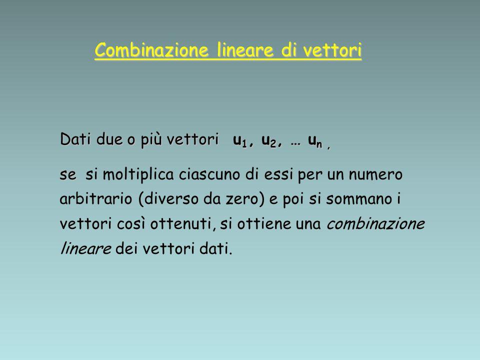 Combinazione lineare di vettori Quindi se: w = c 1 u 1 + c 2 u 2 + … + c n u n (dove c 1, c 2,…, c n sono numeri non tutti nulli) diciamo che il vettore w è una combinazione lineare dei vettori u 1, u 2, … u n.