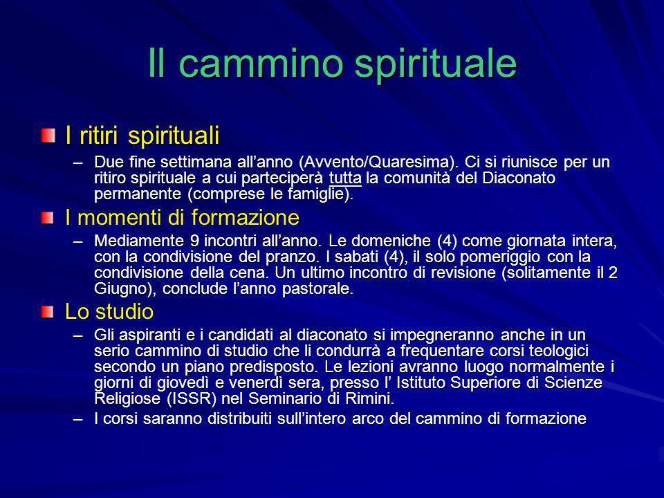 Il cammino spirituale I ritiri spirituali –Due fine settimana all'anno (Avvento/Quaresima). Ci si riunisce per un ritiro spirituale a cui parteciperà