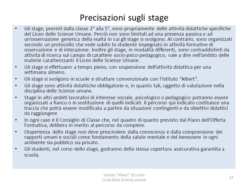 Precisazioni sugli stage Gli stage, previsti dalla classe 2° alla 5°, sono propriamente delle attività didattiche specifiche del Liceo delle Scienze U