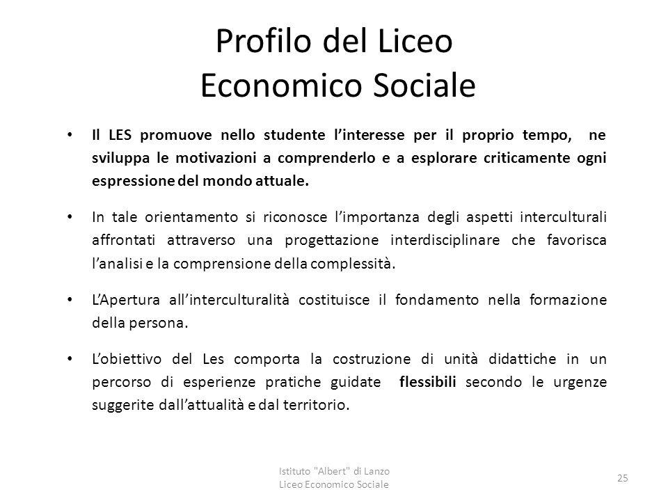 Profilo del Liceo Economico Sociale Il LES promuove nello studente l'interesse per il proprio tempo, ne sviluppa le motivazioni a comprenderlo e a esp