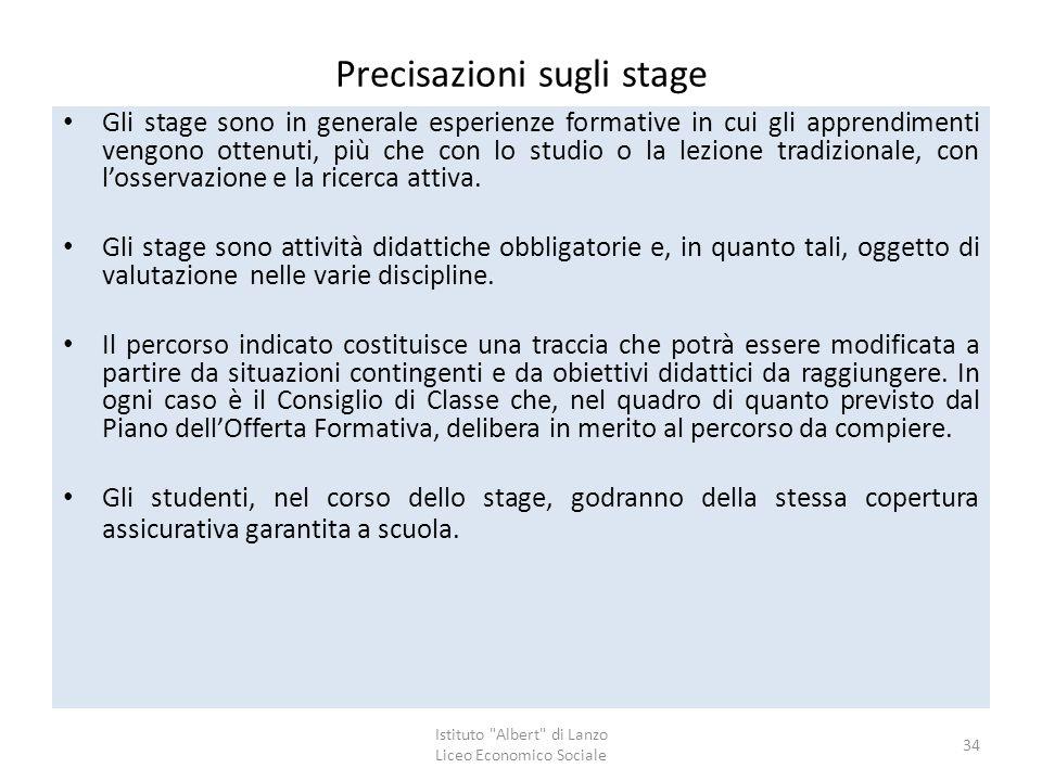 Precisazioni sugli stage Gli stage sono in generale esperienze formative in cui gli apprendimenti vengono ottenuti, più che con lo studio o la lezione